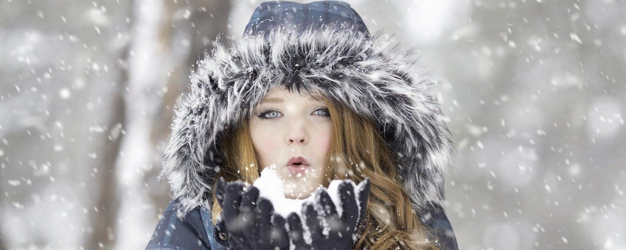 woman, snow, blow